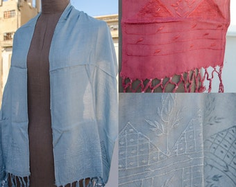 Vintage Embroidered Silk Shawl in 2 colors - light blue and red