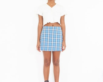 90s Blue White Plaid Mini Skirt w/ Built-in Shorts // Size Small