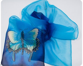 """SALE. Hand painted silk scarf. Butterfly Silk Scarf~8x52"""" chiffon~Hand-painted silk scarves~Swallowtail butterfly scarf~Painted silk scarves"""