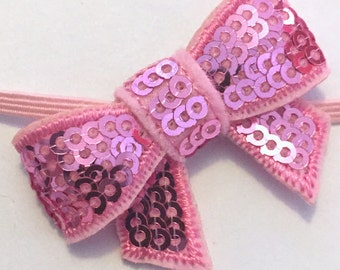 RTS Ready To Ship RTS SET 2 pcs Mommy & Me Matching Headbands Set Blue Sequin Bow Skinny Bands Mother Daughter Headbands