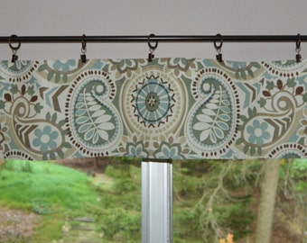 "Kitchen Valance . Mini Valance  8""x 52"" . Waverly Paisley Prism Latte  .  Use Ring Clips or Slide on Curtain Rod"
