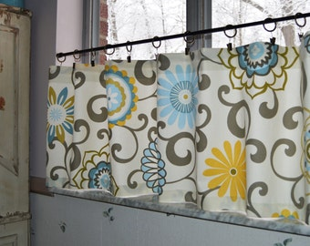 Kitchen  Cafe Curtains .  Pom Pom Play Spa by Waverly . Custom Curtain - Tiers . Handmade by Pretty Little Valances