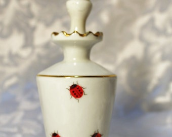 Vintage Perfume Bottle -  Lady Bugs - Japan - Old Bottle with Stopper