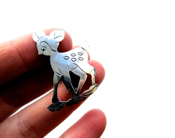 Vintage Sterling Silver Baby Deer Pendant with Clip