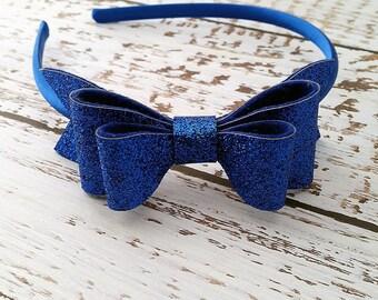 Royal Blue Glitter Bow - Oversize Hair Bow - Hard Headband - Girls Toddlers Women - Glitter Hair Bow - Felt Glitter - Blue Hair Bow