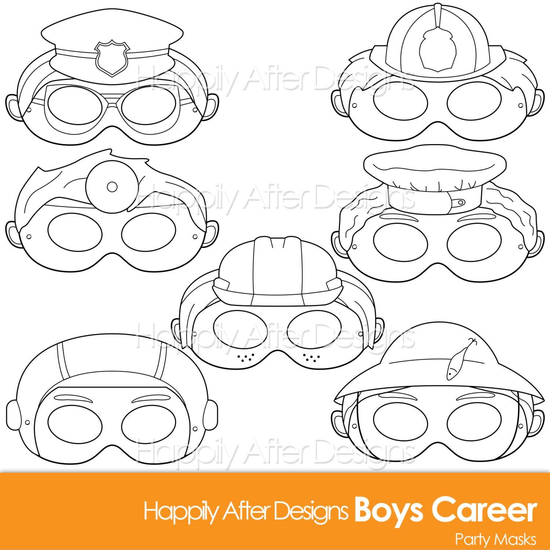 Boys Career Printable Coloring Mask Careers Police Fireman