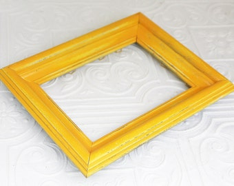 8x10 Picture Frame Yellow Thick Vintage Hand Painted & Distressed Frame