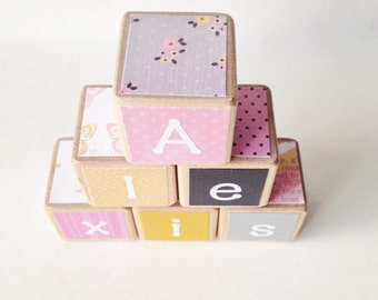 Personalized Wood Baby Blocks.  Baby Shower Decor. kids. stacking toy.  Modern. Pink, grey nursery decor. Stacking toy. GIFT for new baby.