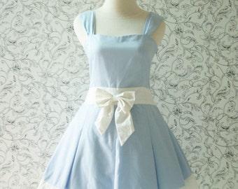 Blue ALICE IN WONDERLAND Dress White Ribbon Pleated Sweetheart Neckline