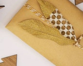 Gold Dipped Feather - Gold Polka Dots || Handmade Feather