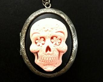 Pink Sugar Skull Dia de los Muertos Day of The Dead Gothic Antique Locket Necklace