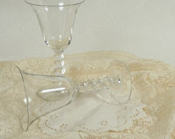 Two Vintage Candlewick Sherry Glasses Wine Goblets with Beautiful Stacking Ball Stems by Imperial Glass