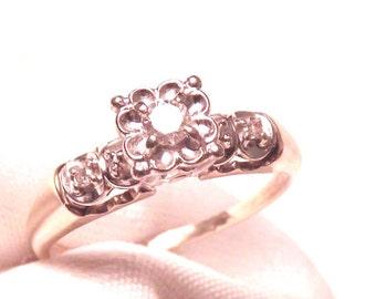 Vintage Diamond Engagement Ring/ 14K /Yellow Gold/ White Gold