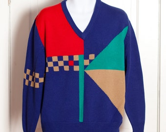 Vintage 80s 90s Vneck Sweater - blue red tan