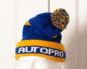 Vintage Winter Stocking Hat - AUTOPRO - yellow blue - hat with puff ball