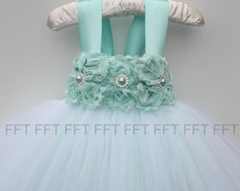 Aqua Flower Girl Dress
