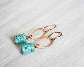 SALE Copper Marquis and Turquoise Stacked Heshi Bead Earrings Boho Jewelry Trendy Simple