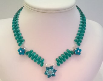 Teal Green Glass Bead Necklace with Lampwork Flower Beads, Swarovski Crystals - Handcrafted OOAK  Necklace