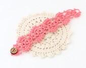 Crochet Bracelet - Crochet Cuff - Crochet Cuff Bracelet - Vegan Bracelet - Vegan Jewelry - Cruelty Free - Boho Jewelry - Coral Bracelet