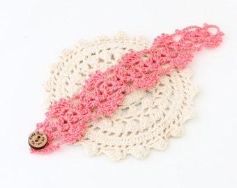 Crochet Cuff - Crochet Bracelet - Cuff Bracelet - Vegan Bracelet - Vegan Jewelry - Cruelty Free - Boho Jewelry - Coral Bracelet