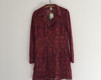 Vintage 90's Express Sheer Long Jacket / Dark Red Paisley Dress Blazer S