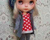 Grey Felt Coat and Leggings, Red and White Heart Tunic and Multicolor Beret Blythe Set