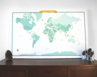 20% OFF SALE! World Map Fabric with Country Names - Teal/Mint - modern design print - 1 yard