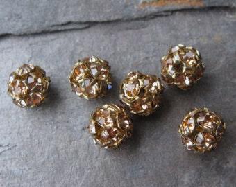 8mm Lt Colorado Topaz in Oxidized Brass Czech Preciosa Rhinestone Ball Beads (6)