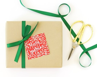 Christmas Gift Tags Cute Holiday Tags Traditional Red and Green Hand Lettered Merry Christmas Favor Tags Paper Gift Tags Christmas Gift Wrap
