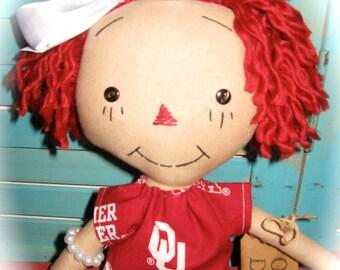 Primitive Raggedy Oklahoma OU Fan Girl Doll OOAK