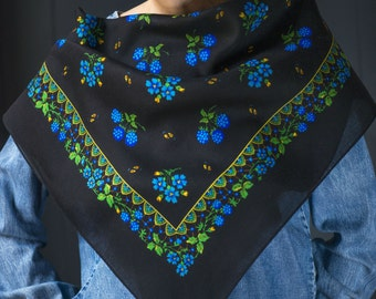 Black cobalt blue boho peasant scarf, blackberry floral scarf gypsy, folk scarf for autumn or winter breeze, mid size scarf blue flowers