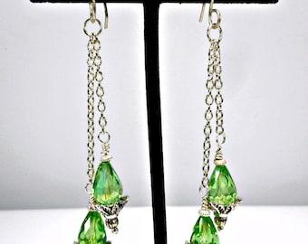 Swarovski Peridot & Sterling Silver Earrings, Long Dangle Two Drop Earrings, Light Green Crystal Earrings, August Birthstone, custom length