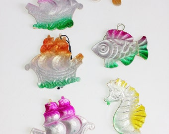 Paper ORNAMENTS, Nautical, Christmas, Vintage, Collectible, Boat, Seahorse, Fish