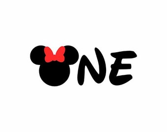 Minnie Mouse Birthday Svg, One Svg, Minnie Svg, Minnie Ears Svg, Cricut Cut Files, Silhouette Cut Files