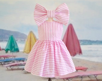 Sweet Petite Vintage Style Summer Dress and Bow for Blythe