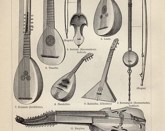 1890s Antique print, MUSICAL INSTRUMENTS wall art vintage b/w lithograph illustration chart