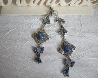 """Boucles d'oreilles romantiques en métal argenté """"Noeuds bleus"""""""