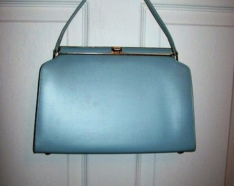 Vintage 1960s Ladies Baby Blue Kelly Handbag Purse Only 20 USD