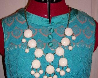 Vintage 1960s White Bib Chandelier Necklace Mod Boho Chic Only 11 USD