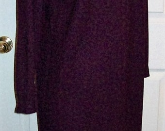 Vintage Ladies Dark Purple Wool Dress by Reed Scranton Size 12 Only 6 USD