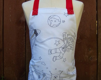 Kids Apron, Color Me, Space Adventures, Markers included, Arts  Crafts Cooking Baking