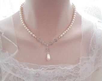 Pearl drop necklace ~ Swarovski pearls ~ Bridal Jewelry ~ Brides necklace ~ Beautifully detailed CZ filigrees ~ Wedding necklace ~ ELIZABETH