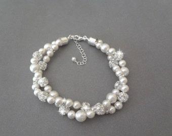 Pearl bracelet -Chunky- Twisted pearl bracelet - Swarovski pearls and crystals-Brides bracelet-2 strand-Wedding bracelet~Infinity bracelet