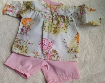 Cute Little Doll Outfit Made from Pink Holly Hobbie Fabric