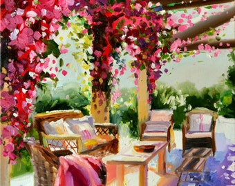 Original Oil Painting of BOUGAINVILLEA PERGOLA, purple and ochre, sunlit courtyard, Large Painting, French shutters