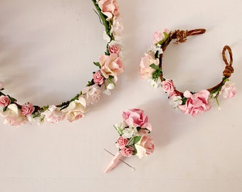 Pink and Ivory Bridal Set, Floral Headband, Woodland, spring, summer, elopement set, wedding flower crown, Boho, Bridal, Hair Accessories