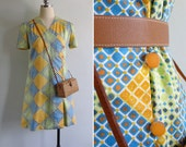 SALE (See Shop) - Vintage 70's Patchwork Diamond Cotton V-Neck Button Shift Dress XS S or M