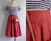 Vintage 80's 'Tomato Red' Yoked High Waisted Cotton Full Skirt XS or S
