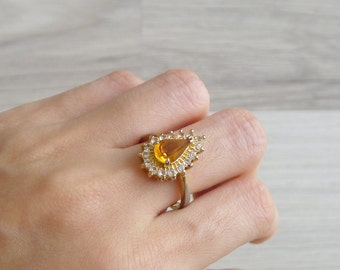 Vintage 50's Teardrop Amber Topaz Stone Cocktail Ring 8 8.25
