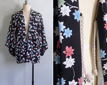 Vintage 60's 'Garden of Stars' Silk Pastel Floral Black Haori Kimono Robe